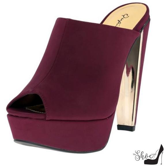 The Shoe Loft Shoes - Darcy Faux Suede Burgundy Mules